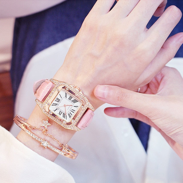 Square Luxury Diamond Women Watch pink
