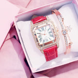 Square Luxury Diamond Women Watch red bracelet