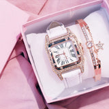 Square Luxury Diamond Women Watch white bracelet