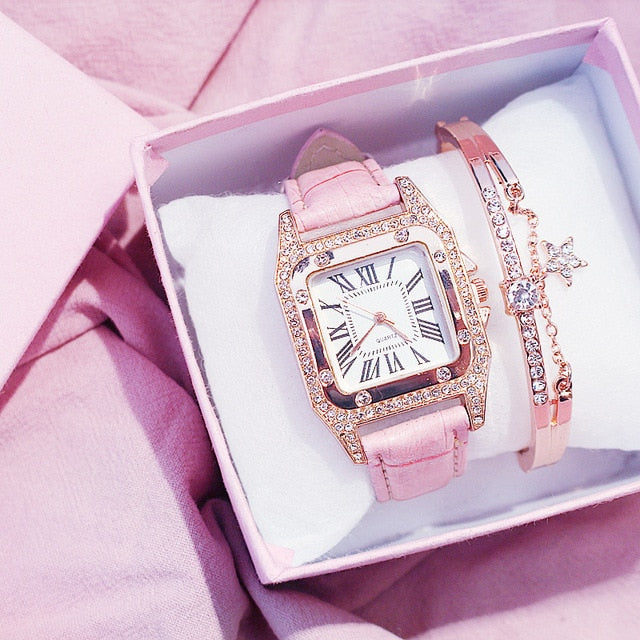 Square Luxury Diamond Women Watch pink bracelet