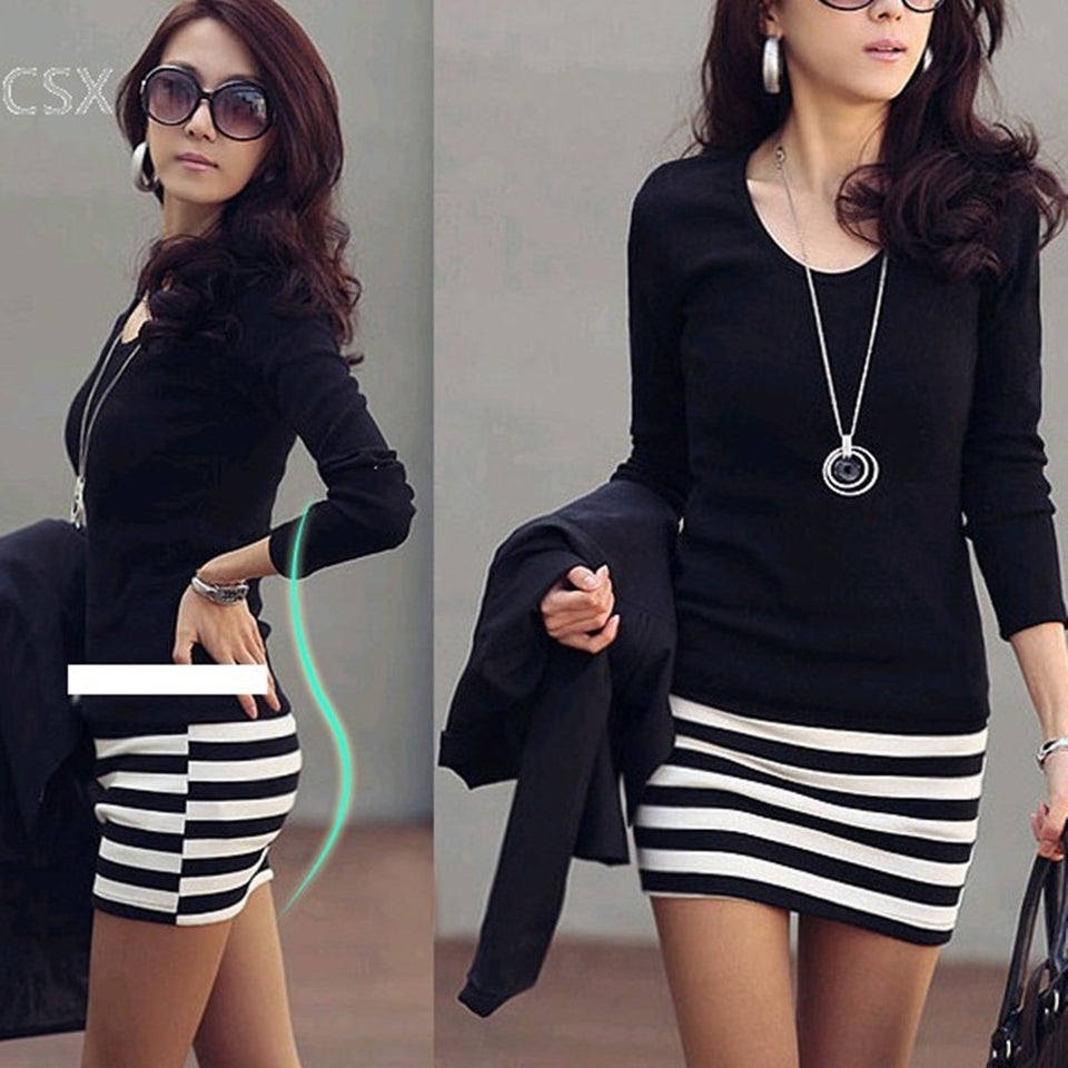 Casual long sleeve bodycon mini black dress