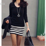 Casual long sleeve bodycon mini black dress Black / L
