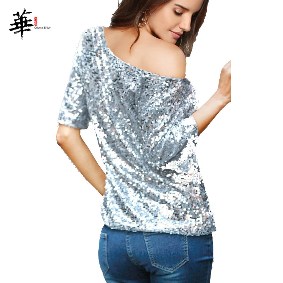 Sequined Casual Glitter Loose T-Shirt