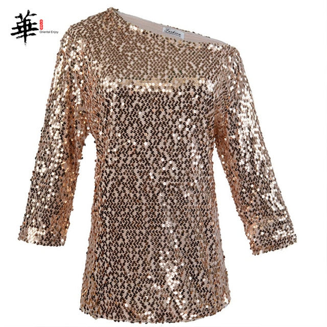 Sequined Casual Glitter Loose T-Shirt Pink / XL