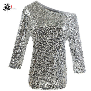 Sequined Casual Glitter Loose T-Shirt Silver / XL