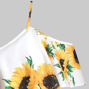 Sunflower printed Camis off shoulder top