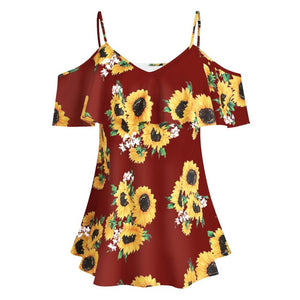 Sunflower printed Camis off shoulder top Red / M