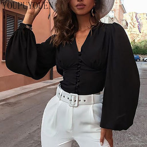 Elegant puff sleeve summer v-neck top Black / L