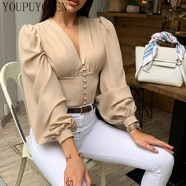 Elegant puff sleeve summer v-neck top Khaki / S