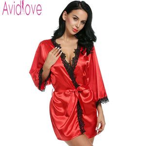 Women Sexy Nightwear Lace-trimmed Satin Bathrobes