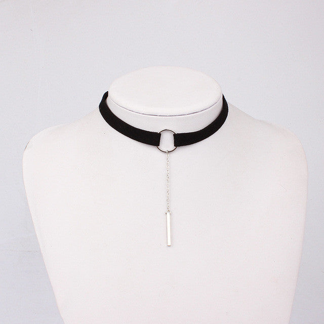 Leather Choker Necklace - FREE Worldwide Shipping BLACK SILVER