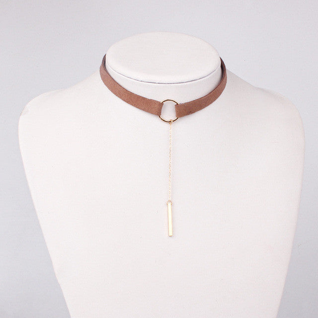 Leather Choker Necklace - FREE Worldwide Shipping BROWN GOLD