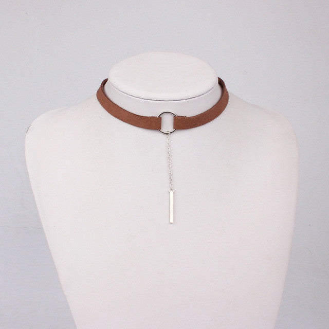 Leather Choker Necklace - FREE Worldwide Shipping BROWN SILVER