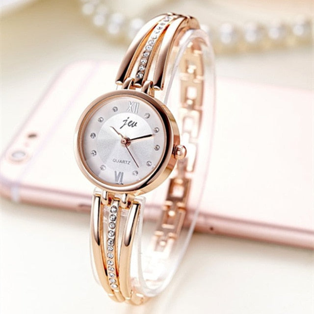 Luxury rhinestone ladies watch ROSE GOLD