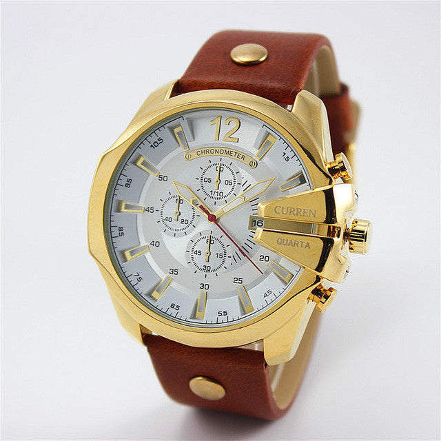 Curren Retro Watch golden white