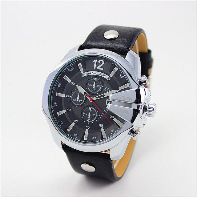 Curren Retro Watch silver black