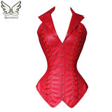 Leather Steampunk Gothic Corset red / S