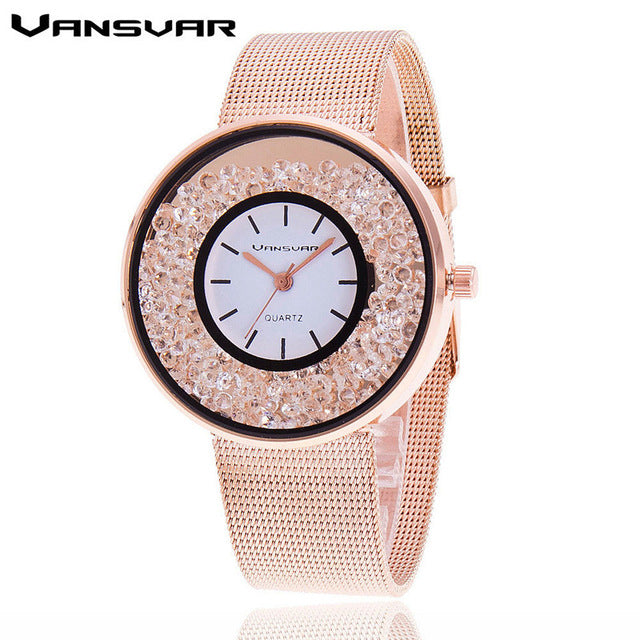 Luxury Women Rhinestone Watch rose gold