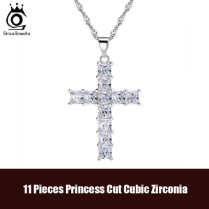 Luxury Cross Pendant Necklace 11 Pieces CZ