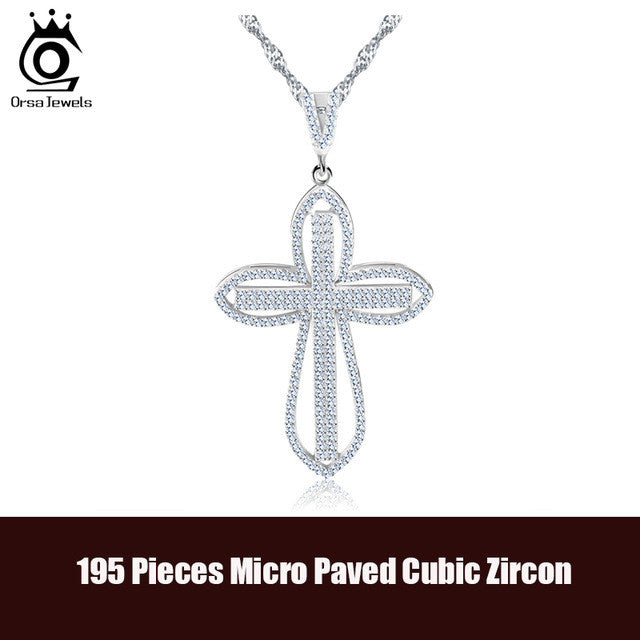 Luxury Cross Pendant Necklace 195 Pieces CZ