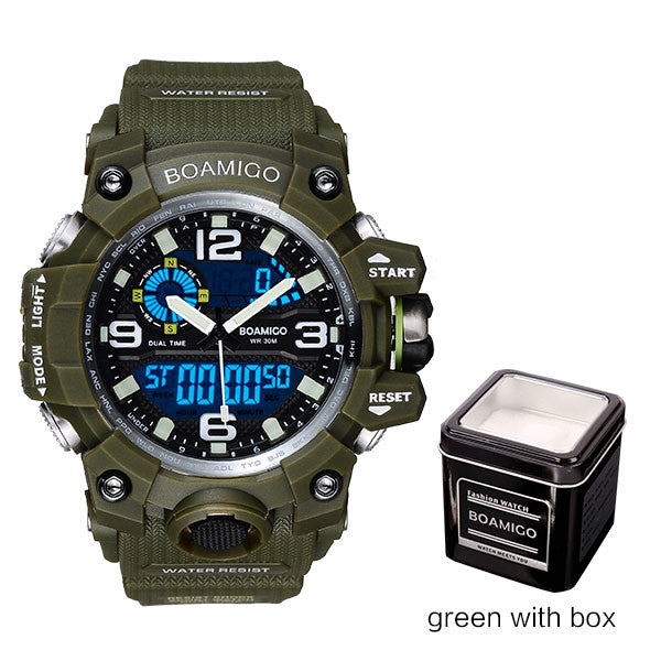 BOAMIGO Mens Sports Watch Green