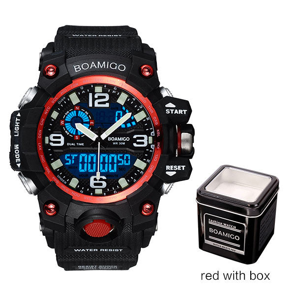 BOAMIGO Mens Sports Watch Red
