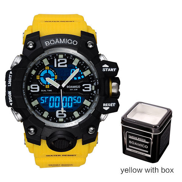 BOAMIGO Mens Sports Watch Yellow