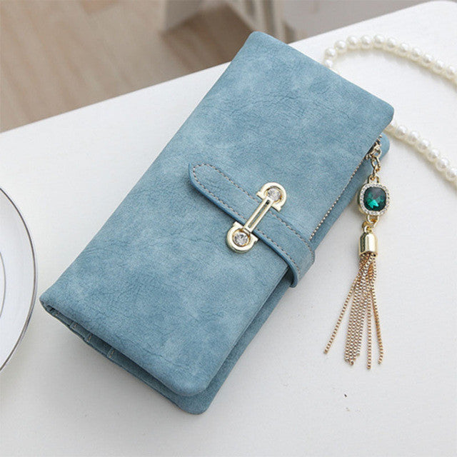 Soft Matte Suede Purse - 7 colors to choose from Long blue