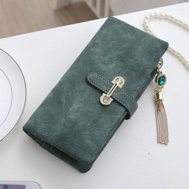 Soft Matte Suede Purse - 7 colors to choose from Long green