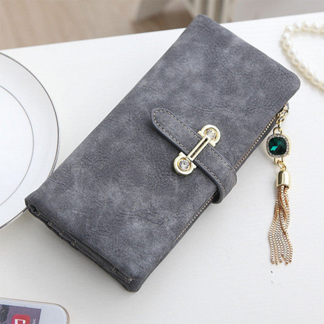 Soft Matte Suede Purse - 7 colors to choose from Long gray