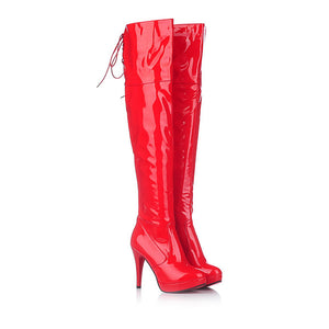 Sexy Steel Pipe Boots Plus red / 4