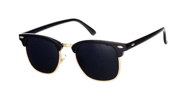 Cool High Quality Half Metal Mirror Sunglasses C16 black gold