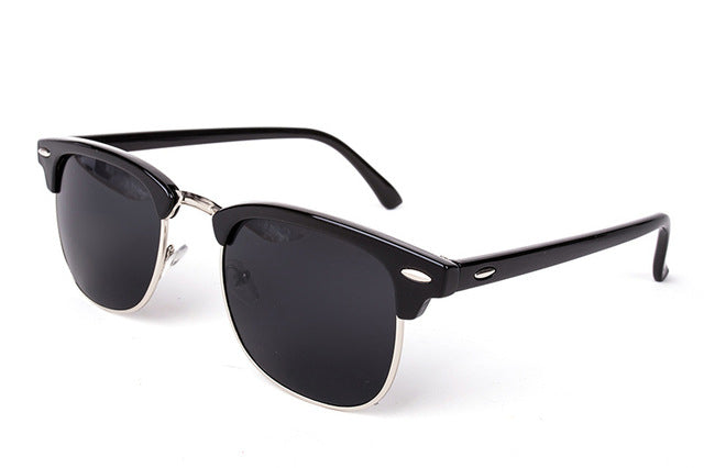 Cool High Quality Half Metal Mirror Sunglasses C1 black silver
