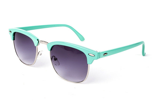 Cool High Quality Half Metal Mirror Sunglasses C3 cyanblue gray