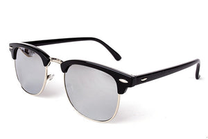 Cool High Quality Half Metal Mirror Sunglasses C4 black mercury