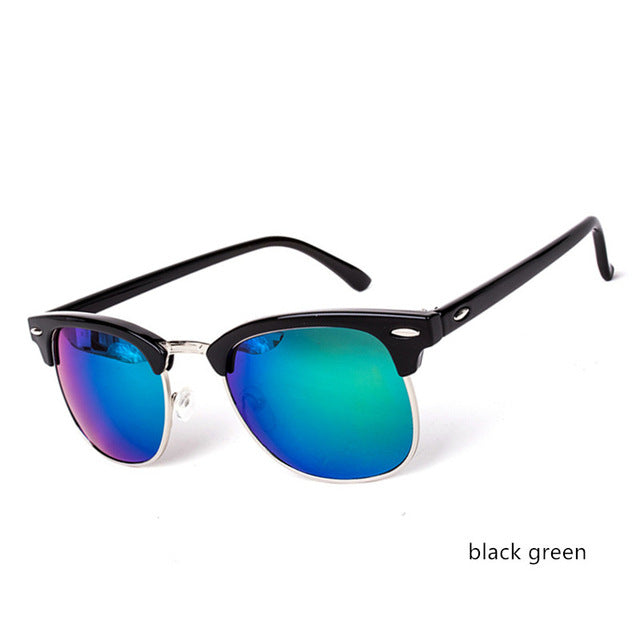 Cool High Quality Half Metal Mirror Sunglasses C7 black green