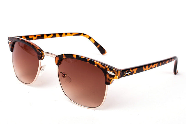 Cool High Quality Half Metal Mirror Sunglasses C10 leopard brown