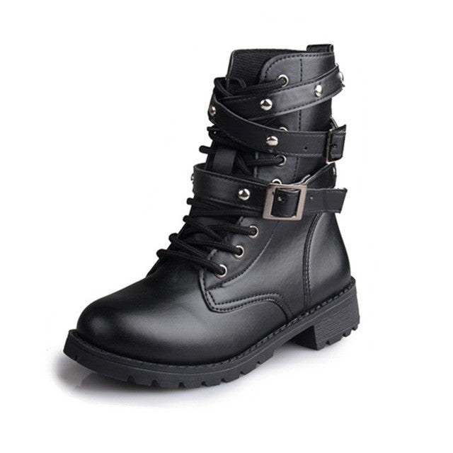 Women Motorcycle Boots BLACK / 5
