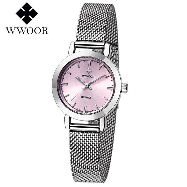 WOOR Women's Watch Silver Pink