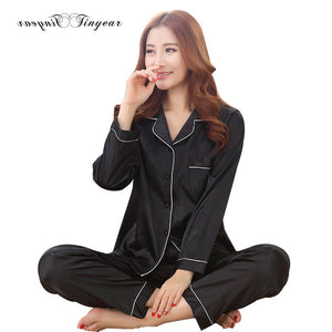Women Satin Pajama Sets Long Sleeve Sleepwear sleepwear Foxy Beauty black / M