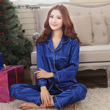 Women Satin Pajama Sets Long Sleeve Sleepwear sleepwear Foxy Beauty blue / M
