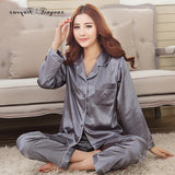 Women Satin Pajama Sets Long Sleeve Sleepwear sleepwear Foxy Beauty grey / M