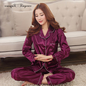 Women Satin Pajama Sets Long Sleeve Sleepwear sleepwear Foxy Beauty wine red / M