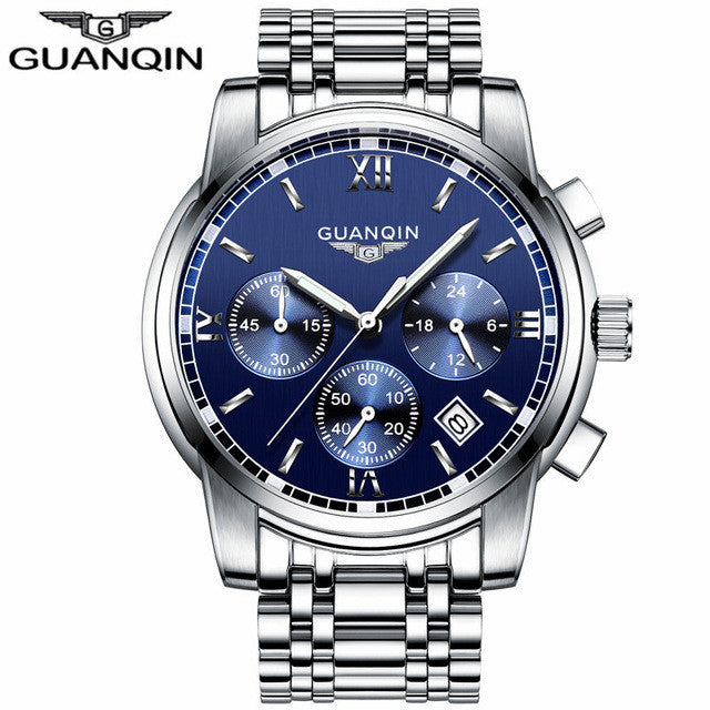 GUANQIN Watch Silver Blue