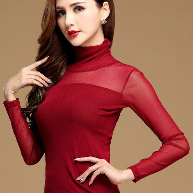 Casual long sleeve lace blouse High Neck Red / M