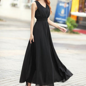 Bohemian Summer Maxi Dress Black / L