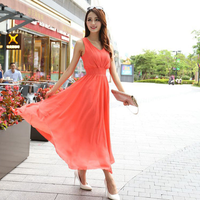 Bohemian Summer Maxi Dress Orange / L