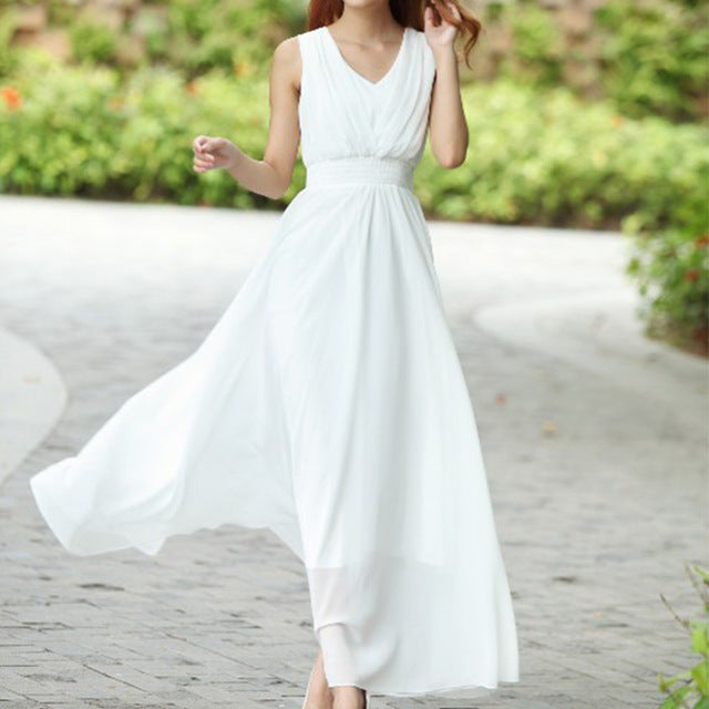 Bohemian Summer Maxi Dress White / L