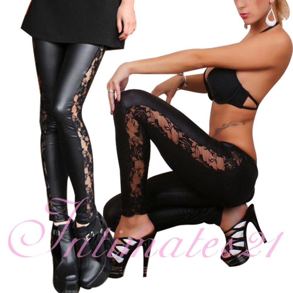 Side Lace Up Leather Leggings