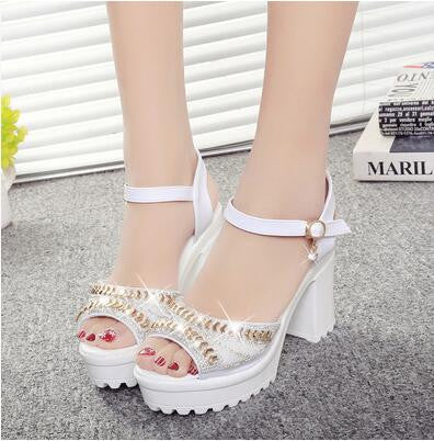 Sequins Diamond Sandals White